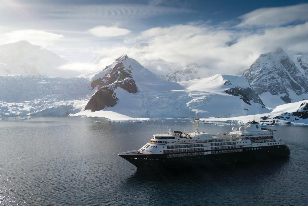 Silversea ship sailing through Antarctic waters