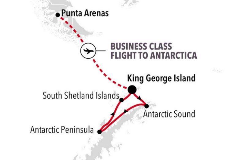 Silversea Antarctica Bridge Fly Cruise Map