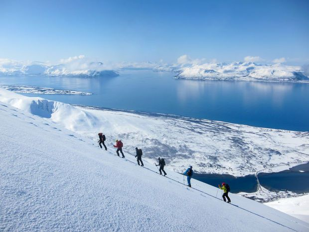 Picture of people sky walking in the Lyngen Alps, Norway