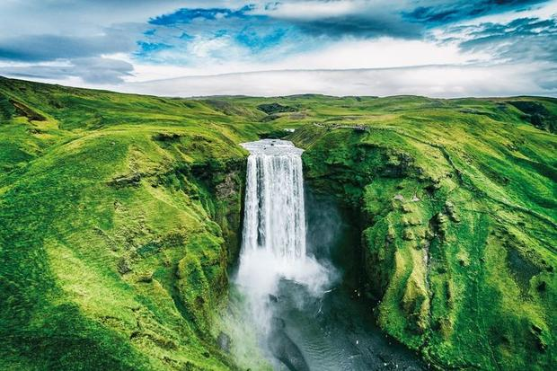 View of Skogafoss waterfall from the air, Iceland