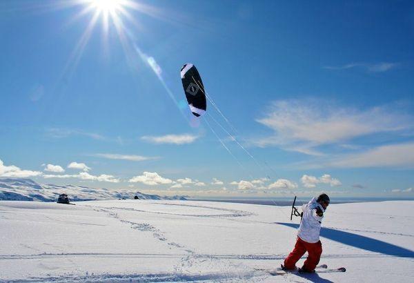 Snow Kiting at Hotel Ranga, Southern Iceland