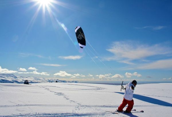 Snow Kiting at Hotel Ranga, Southern Iceland