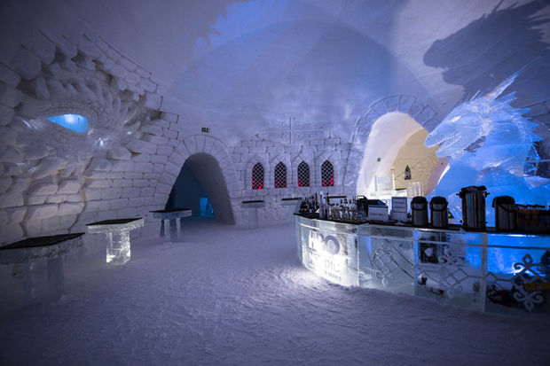 A Dragon Guards the Bar at Snow Village, Finnish Lapland