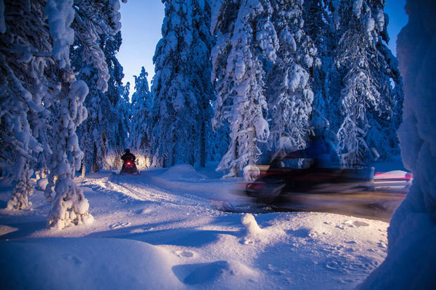Snowmobiling near Rovaniemi, Finnish Lapland