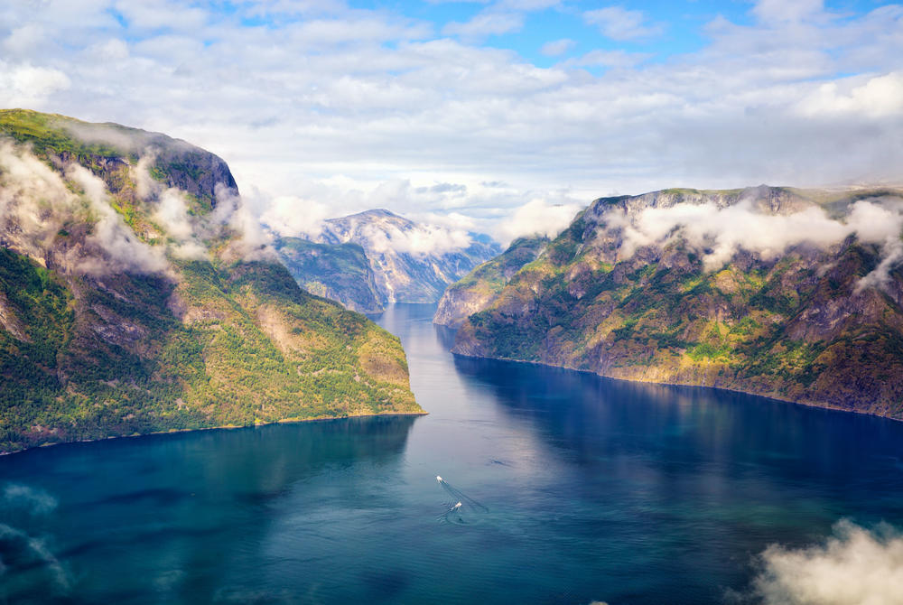 View of peaks and water at Sognefjord, Norway