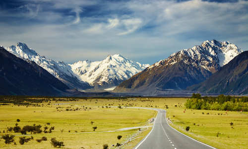 View of the road in the Southern Alps, New Zealand