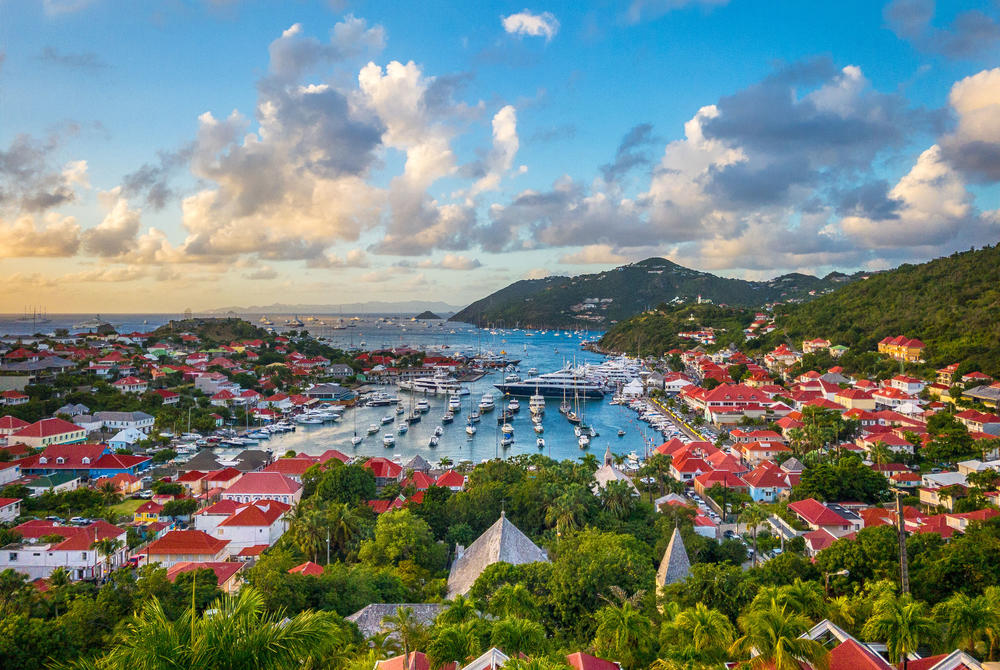 View across St Barts harbour, Caribbean