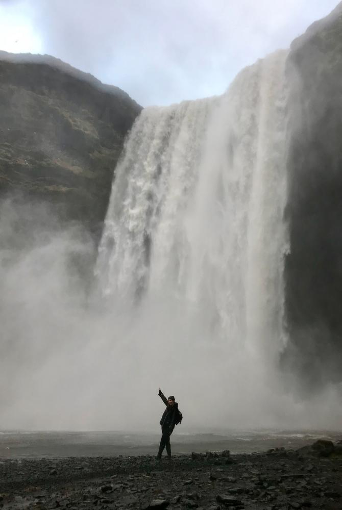 Steff Sargeant at Skogafoss waterfall in Iceland with The Luxury Holiday Company