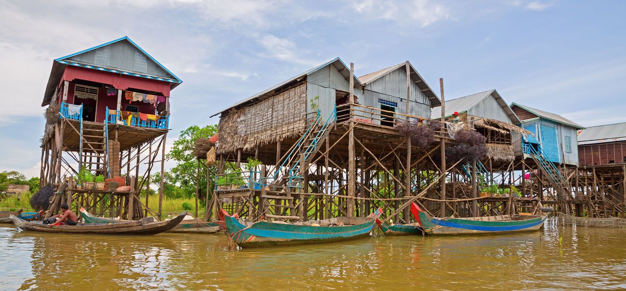 Stilted houses, Mekong River, Cambodia