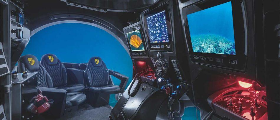 The plush interior of Seabourn's submarines