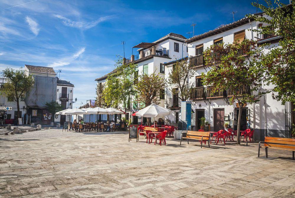 Sunny plaza in Granada, Spain