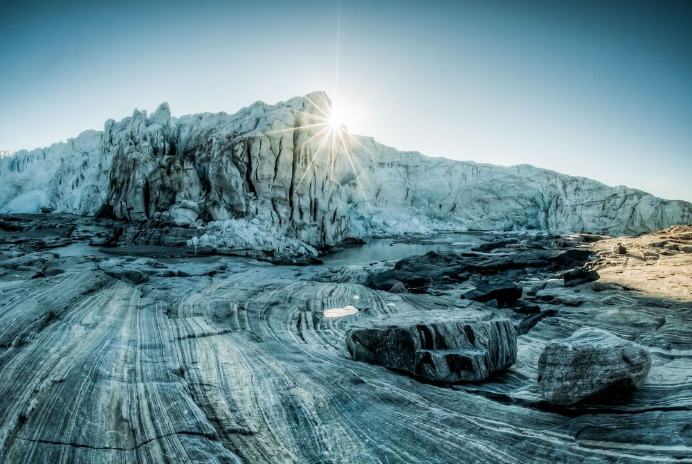 Sunrise over a glacier in Greeland