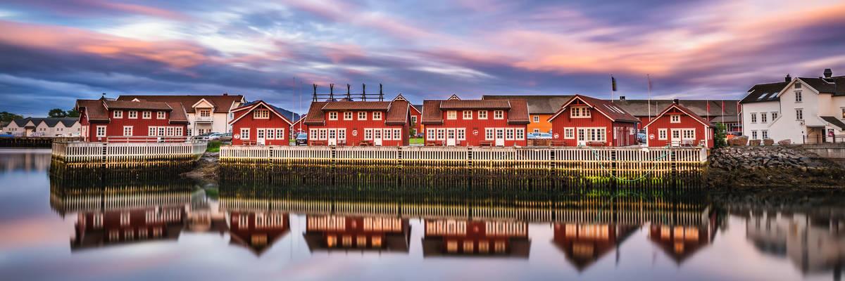 Sunset over harbor houses in Svolvaer