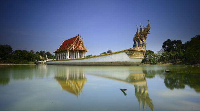 Suphannahong ship on the pond at wat Ban Na Muang, Ubon Ratchathani, Thailand