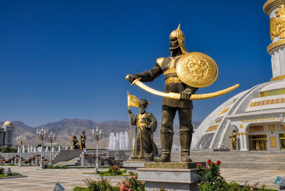 Surrounding Statues, Monument of Independence, Ashgabat, Turkmenistan