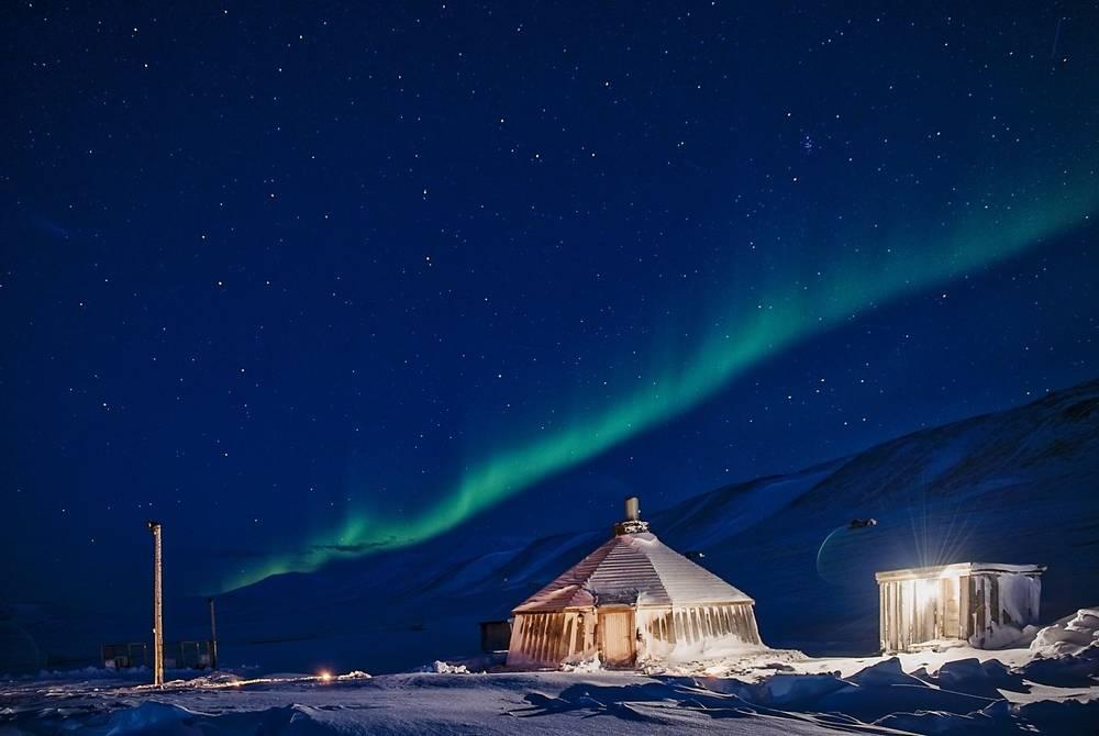 Northern Lights over Camp Barentz, Spitsbergen