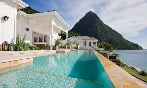 Swimming pool, Sugar Beach, St Lucia, Caribbean