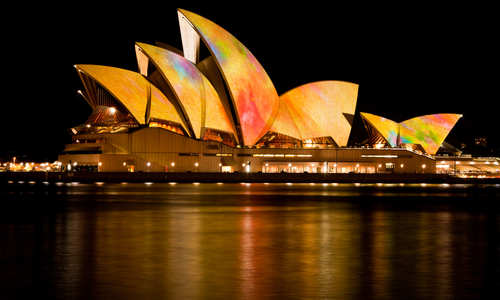 Sydney Opera House during the Vivid Sydney Festival, Sydney, Australia
