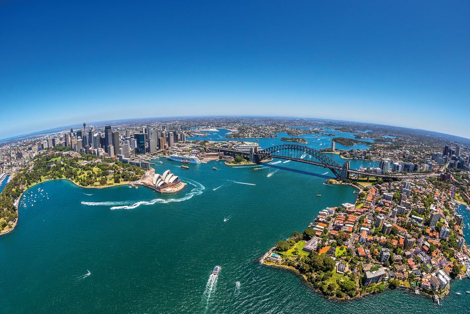 Aerial shot of Sydney Harbour