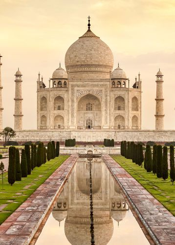 Taj Mahal at sunrise in Agra, India