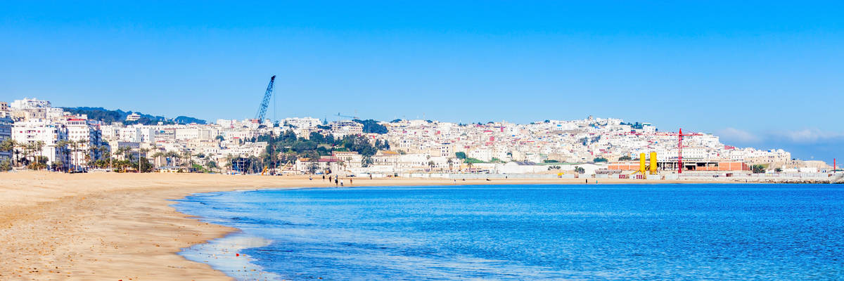 Tangier city beach in Tangier, Morocco