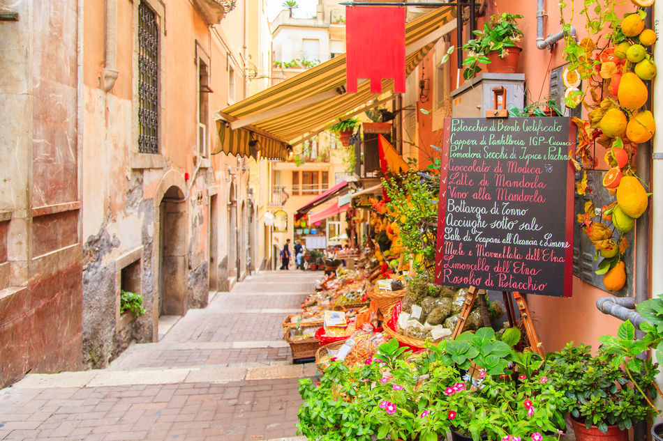 Food stalls in Taormina, Sicily