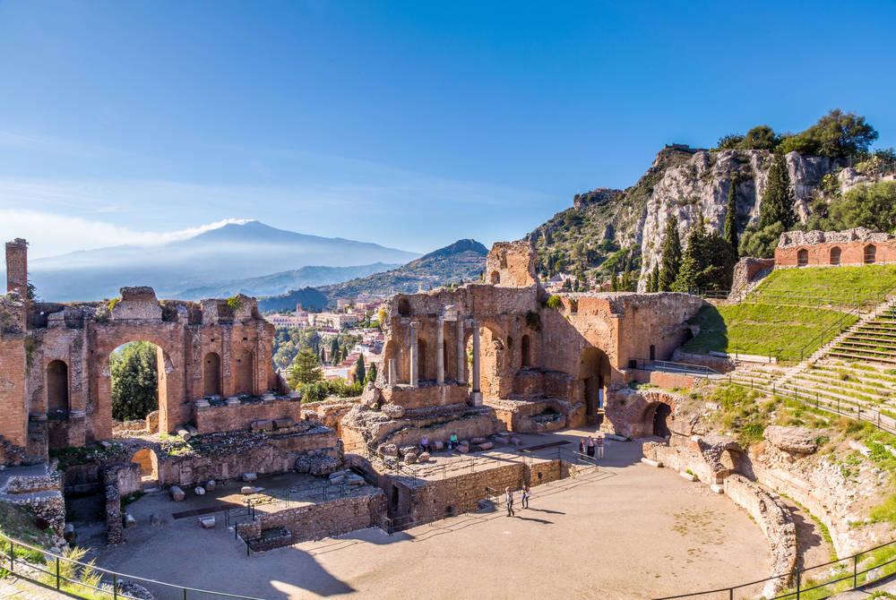 Amphitheatre and Mt. Etna, Taormina, Sicily