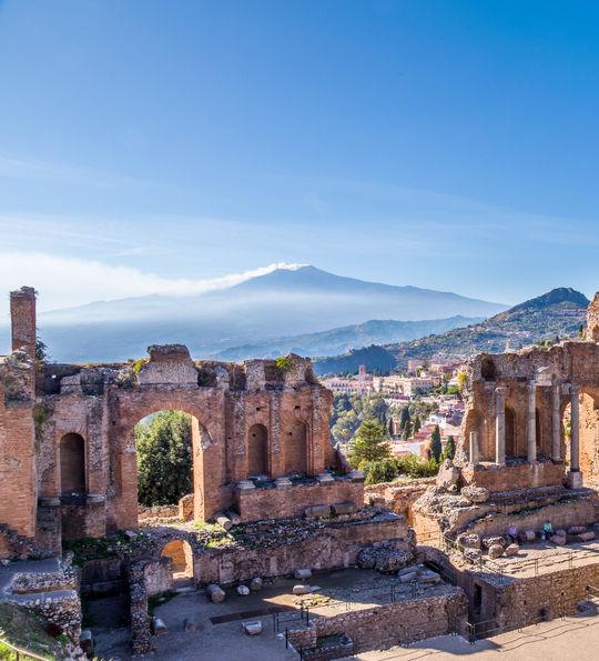 The Roman amphitheatre overlooking Mt. Etna, Taormina, Sicily