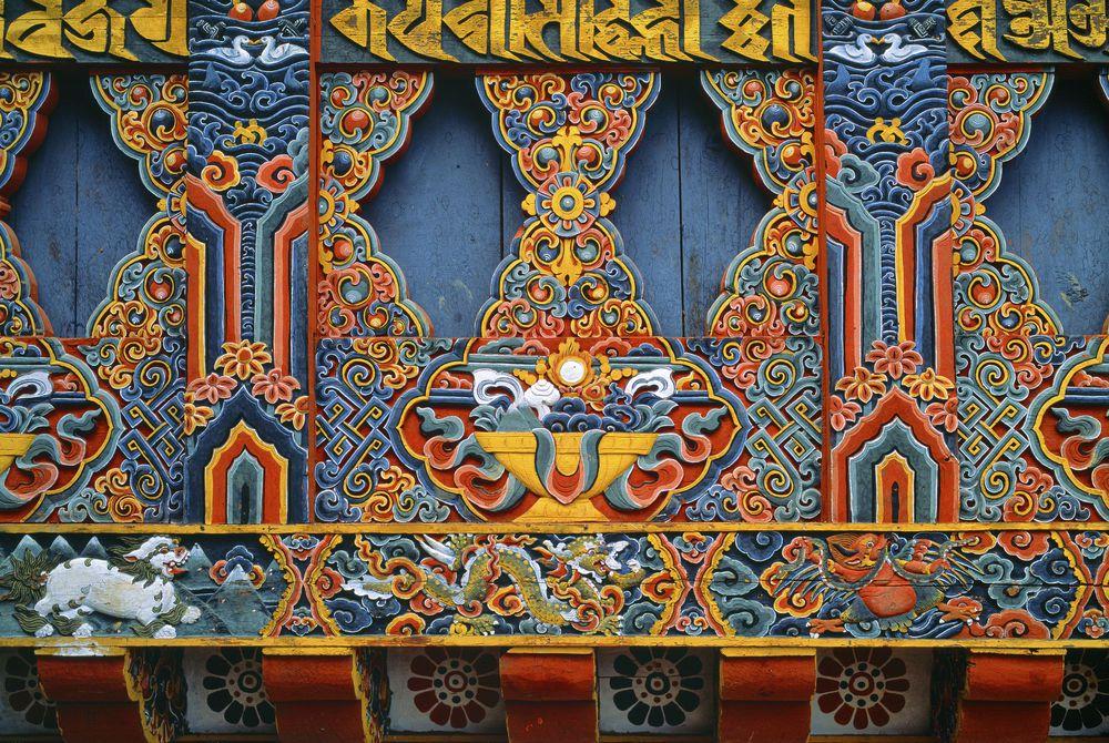 Temple Detail, Paro, Bhutan, Asia