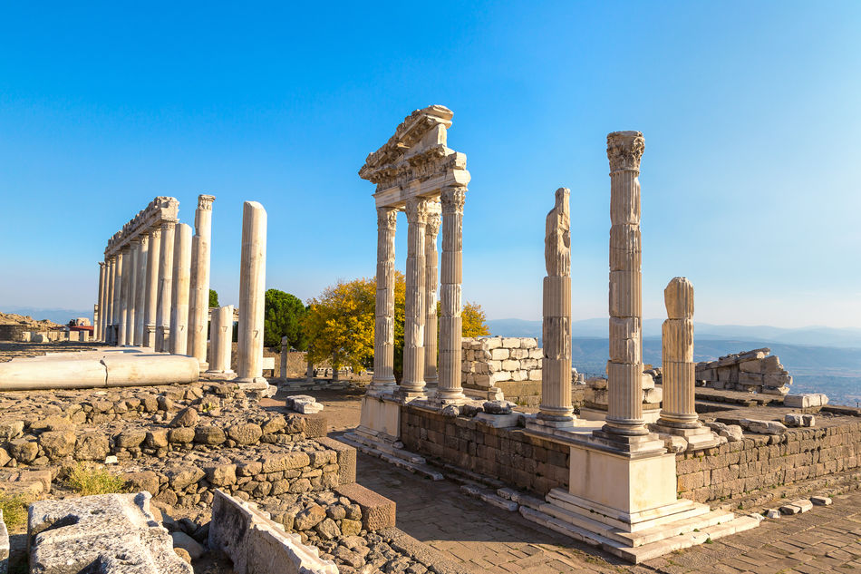 Temple of Trajan in ancient city Pergamon, Bergama, Turkey