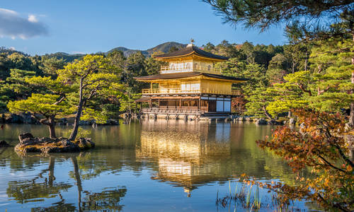 Temple of the Golden Pavilion (Kinkaku-ji) in Kyoto, Japan