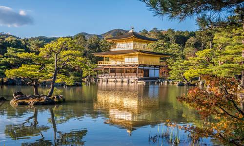 Temple of the Golden Pavilion (Kinkaku-ji) in Kyoto, Japan