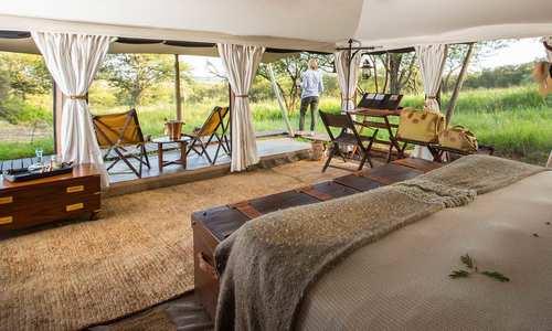 Tent interior, Elewana Serengeti Pioneer Camp, Serengeti, Tanzania