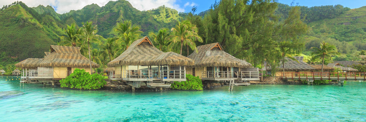 The Beautiful sea and resort in Moorae Island at Tahiti PAPEETE, FRENCH POLYNESIA.