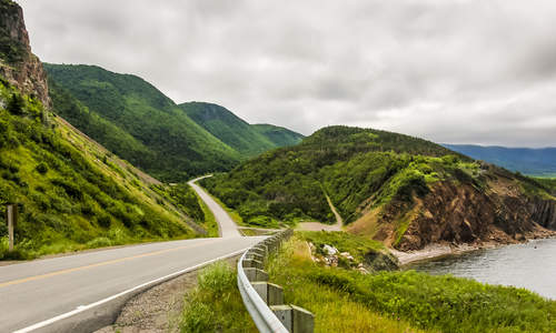 The Cabot Trail winding up the Nova Scotia coast