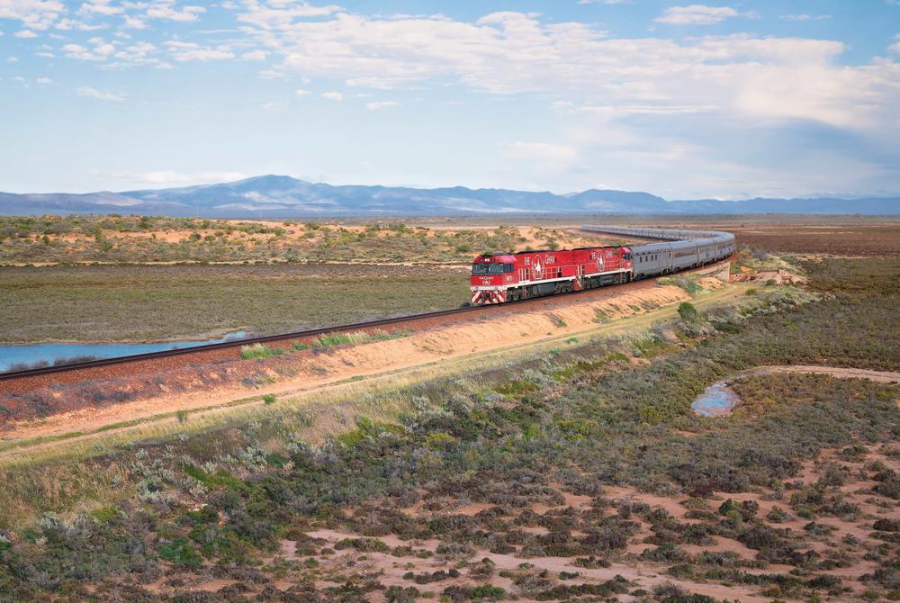 The Ghan passing through The Flinders Ranges