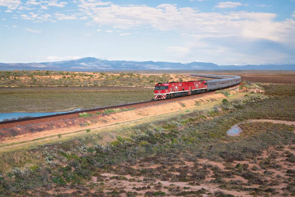 The Ghan passing through the Flinders Ranges