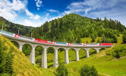 The Glacier Express, Viaduct bridge, the Rhaetian Railway, Switzerland
