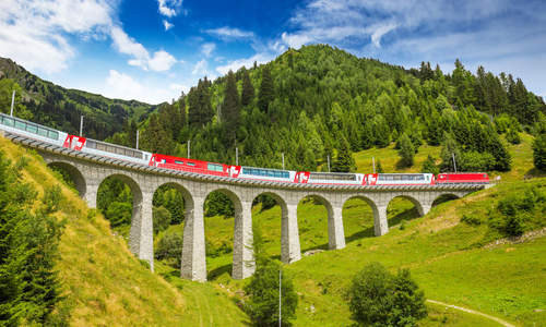 The Glacier Express, Viaduct bridge, the Rhaetian Railway, Switzerland