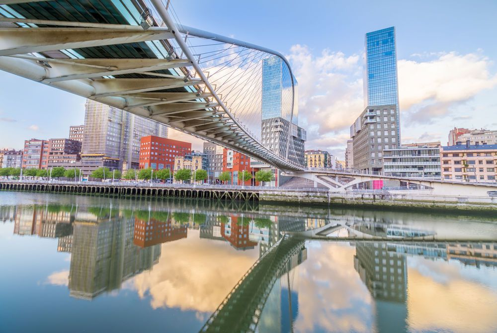 The Pedro Arrupe footbridge crossing the Nervion Bridge in Bilbao, Basque Country