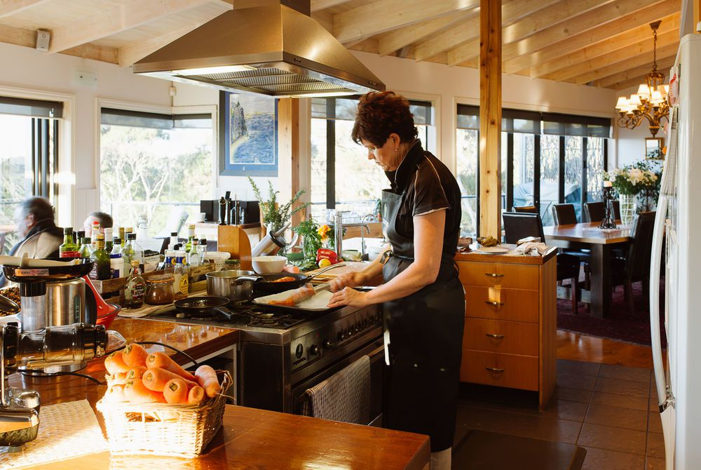 The Sanctuary kitchen in sunlight, New Zealand