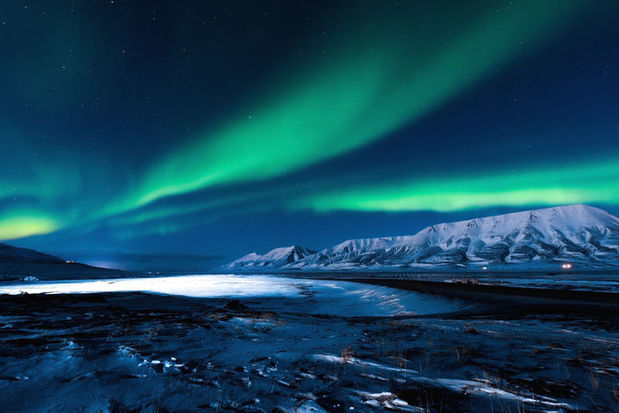 The aurora as seen from one of Svalbard's many fjords