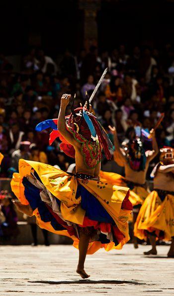 Festival Performers at Thimphu Tshechu (Festival), Bhutan