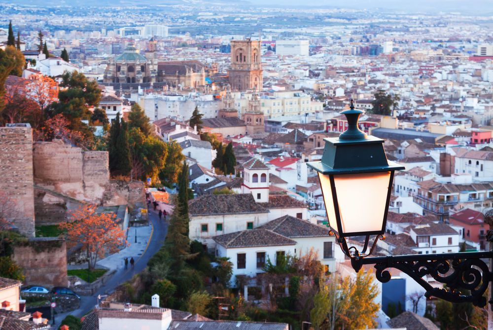 View of Granada in the evening from above