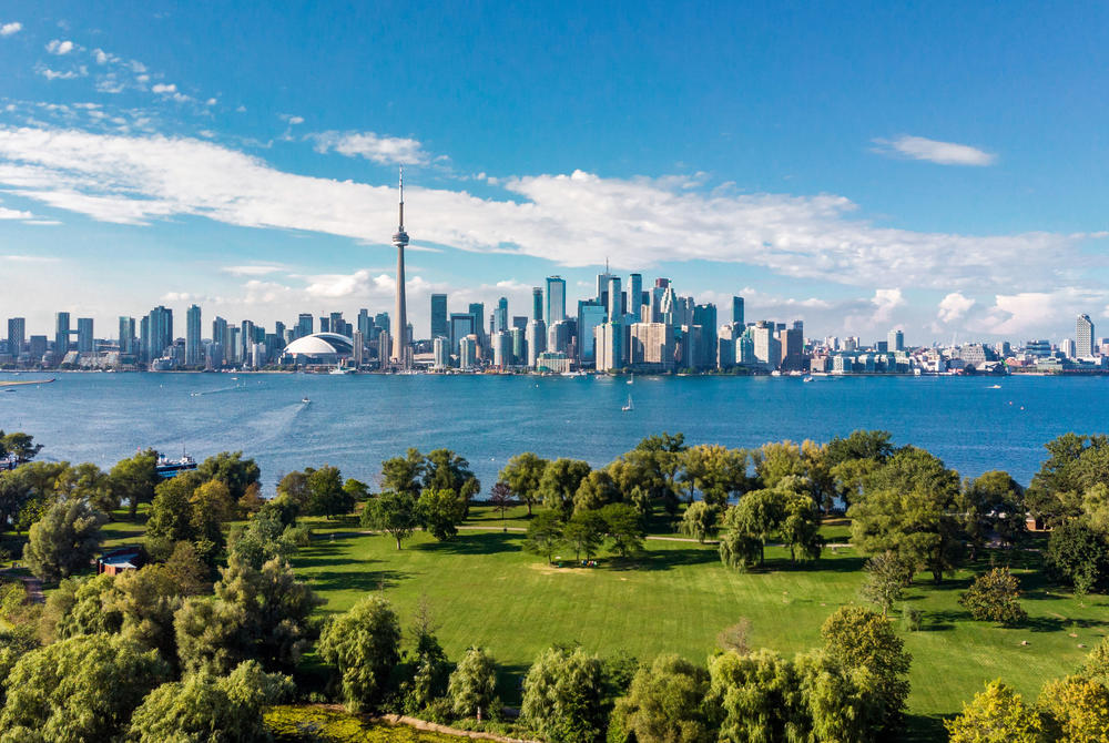 Toronto skyline and Lake Ontario aerial view, Toronto, Ontario, Canada