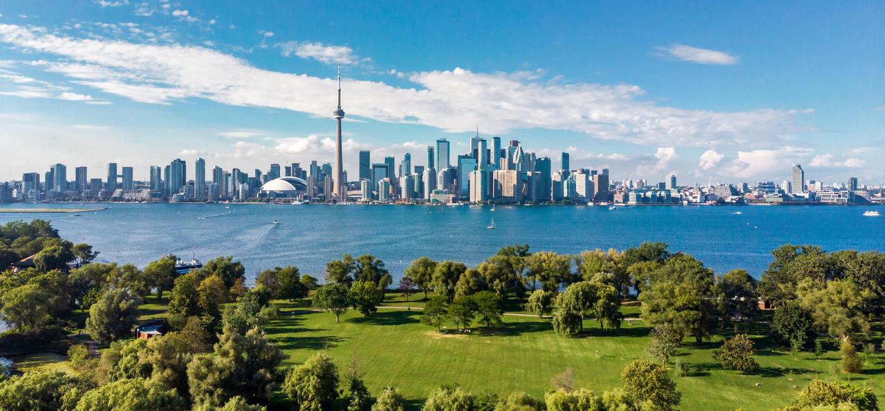 Toronto skyline and Lake Ontario aerial view, Toronto, Ontario, Canada