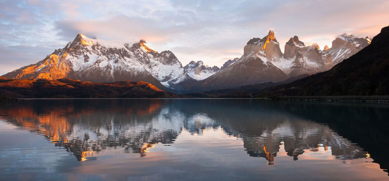 View of a the mountain range in Torres del Paine National Park in Chile