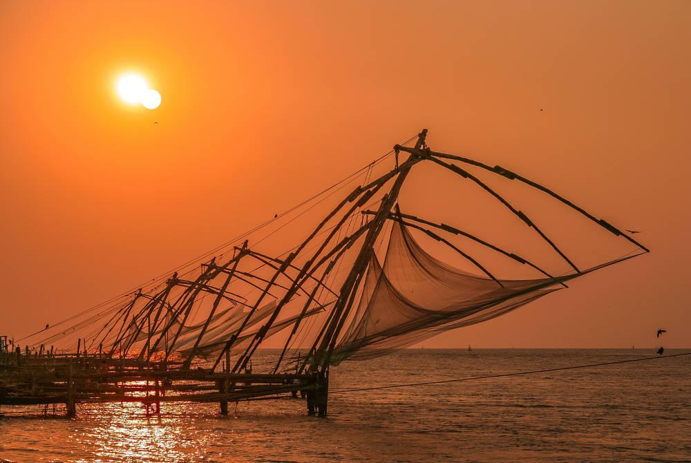 Traditional fishing nets In Cochin Fort, Kerala, India