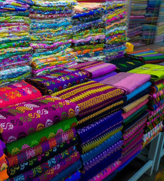 Traditional longyi fabric sold in Bogyoke Aung San Market, Yangon