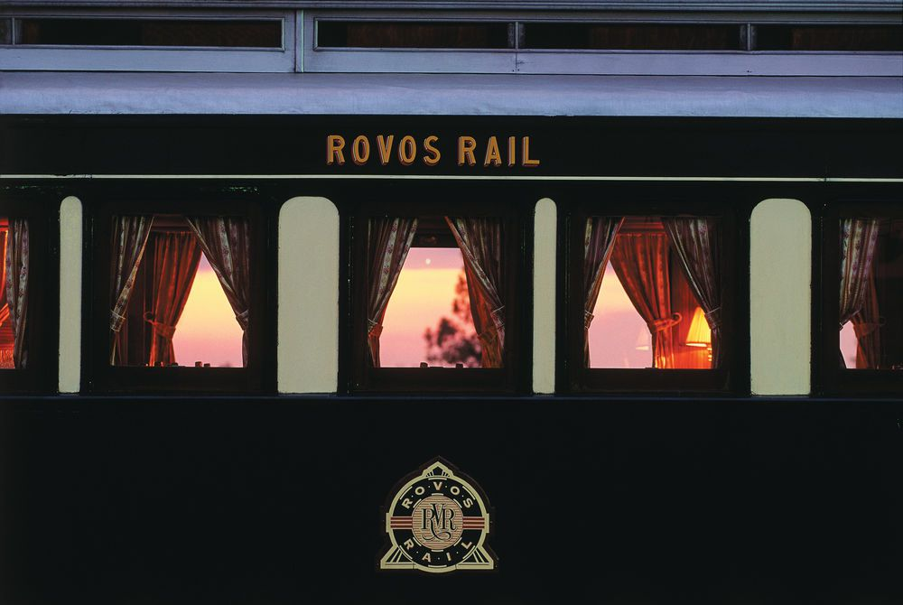 Train Window Sunset, Rovos Rail, South Africa